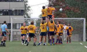 Evan Underwood (centre left) battling Laurier in a line-out during Saturday's game