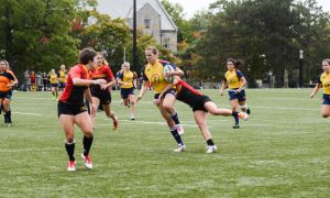 Nadia Popov deep in the Guelph Gryphons territory in the Gaels 50-5 loss.