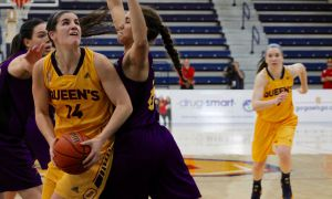 Andrea Priamo (14) in action against Laurier.