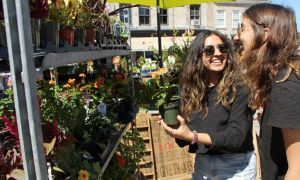 Sarina and Shivani enjoy Kingston's farmers market