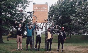 Carmichael with teammates in Africville near the end of expedition.