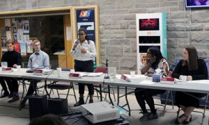 The ASUS executive candidate teams at Friday's debate in the JDUC.