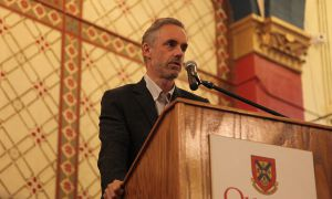 Jordan Peterson addresses audience at Liberty Lecture in Grant Hall on Monday.