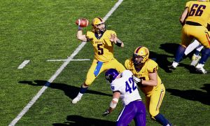 Quarterback Nate Hobbs threw for 361 yards on Saturday afternoon.