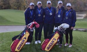 Jasmine Mussani (left) and Robyn Campbell (second from left) tied for fifth individually.