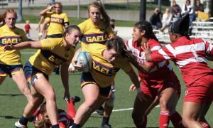 The women's rugby team placed third at the national collegiate 7s tournament.