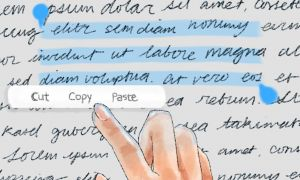 A hand copy and pasting text from a screen
