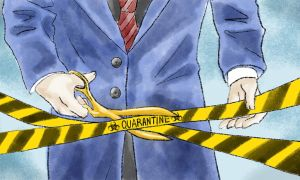 Yellow tape labelled 'quarantine'