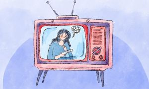 woman on a TV with a pregnancy test