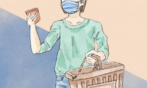 Woman wearing a mask and holding shopping basket