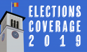 Elections Coverage 2019, thumbnail image with graphic of Grant Hall