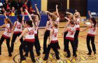 The Queen's dance team performs at the men's basketball game Saturday in Bartlett Gym.