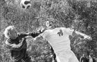 Nick Milonas (19) challenges a Laurentian defender for the ball Sunday.
