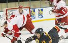 Queen's forward Pat Doyle (28) battles McGill's Yan Turcotte.