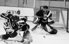 Gaels' defenceman Mike Bushby knocks down a Ryerson forward as Ryan Gibb makes the save Nov. 6. The Gaels will face the Royal Military College Paladins tomorrow in Napanee at 8:30.
