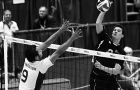 Parrish Offer of the OUA champion McMaster Marauders goes up for a block against Alan Ahow of the Winnipeg Wesmen in the CIS championships Feb. 29. Winnipeg won in four sets, and Canada West swept the medals for the seventh straight year.