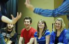 """Queen's Improv makes a scene at their weekly Monday-night practice. Last evening, they performed """"Improv Forever"""" at Alfie's."""
