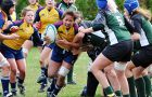 Fullback Karlye Wong tries to break through the Excalibur forward line during Saturday's quarter-final win over Trent.