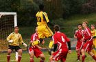 Striker Remi Ojo rises for a header against Royal Military College on Wednesday night at Richardson Stadium.