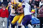 Receiver Scott Valberg is tackled after receiving a catch during the Gaels' Yates Cup victory against the Western Mustangs on Nov. 14.