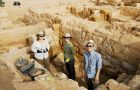 Students Sarah McCutcheon (left), Rachel Rabey (centre) and Fraser Reed (right) took part in this year's six week Jordanian excavation.