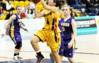 Guard Liz Boag drives to the basket against Laurier.