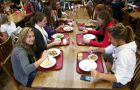 Tray-less dining saves 2,000 gallons of water per 1,000 meals served, according to a Sodexo study. Main Campus Residence Council (MCRC)'s Green Team encourages students to pick plates over trays.