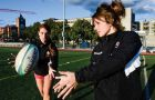 Clara (left) and Gilly Pegg (right) both play on the women's rugby team.