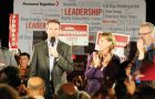 Dalton McGuinty, Premier of Ontario addresses the crowd at the Liberal rally held on Tuesday.