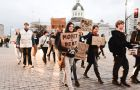 Occupy Kingston protestors march at a rally held on Friday.