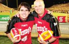 Queen's student Nick Green (left) fell to Greg Wilson in the Kick for a Million semifinal in Hamilton last Friday.