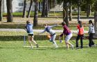 Students at Queen's practice Muggle Quidditch on Agnes Benidickson Field. The Queen's Quidditch Club holds two-hour practices twice a week.