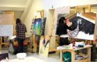 Fine Arts students at work during the Nov. 16 open house at Ontario Hall