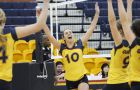 Outside hitter Becky Billings celebrates after a kill on Saturday.