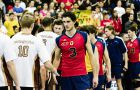 All-Canadian outside hitter Joren Zeeman congratulates Manitoba players following the Gaels' 3-1 loss.