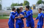 Jordan Brooks (third from left) celebrates with his Kingston FC teammates during their game against the York Region Shooters on May 12.