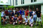 Nick Rodgers, in the striped shirt on the left is shown with his floormates.