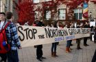 Students protested the Northern Gateway pipeline outside the JDUC yesterday.