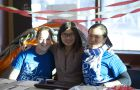 Emily Falhgren, Teresa Liu and Amelia Zheng in front of their tent.