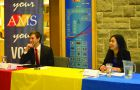 Mike Blair, left, and Jennifer Li at the Thursday trustee debate.