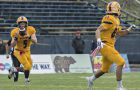 Quarterback Nate Hobbs (#5) and receiver Connor Weir (#85) at Saturday's game.
