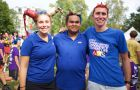 From left: Vice President (University Affairs) Sarah Letersky, President Kanivanan Chinniah and Vice President (Operations) Kyle Beaudry during Frosh Week.