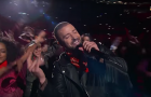 "Justin Timberlake during his Super Bowl performance of ""Can't Stop the Feeling""."