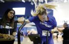 Jackie Boyle on the assault bike at the RBC Training Ground finals in Toronto, Ont.